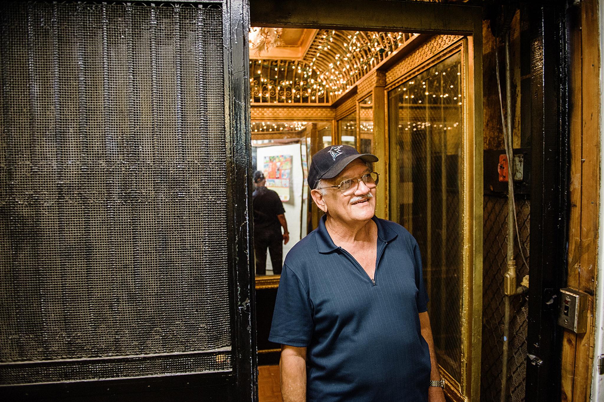 Javier Fombellida, elevator operator portrait, FLUX Hawaii
