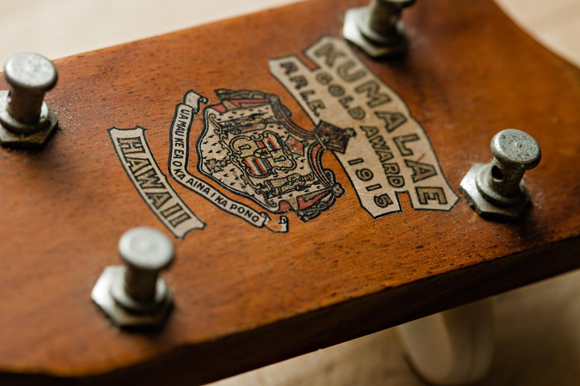 Hawaii seal on string instrument