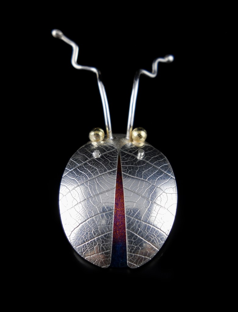 Silver Beetle Pendant Front View