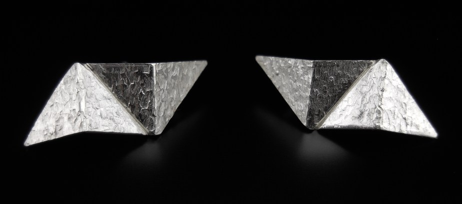 Origami Lightning Studs Silver front