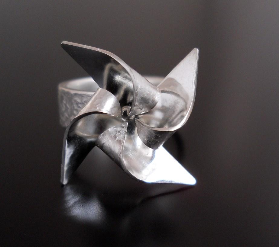 Origami Spinning Pinwheel Ring Silver