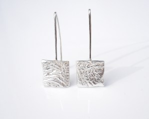 square reticulated recycled sterling silver dangle earrings