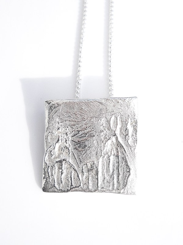 recycled reticulated sterling silver pendant