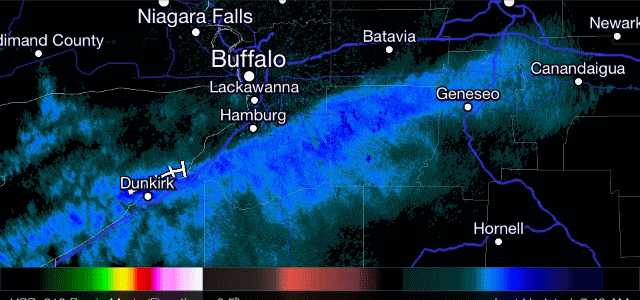 Lake effect snow has returned to western New York Thursday morning. Radar image from 7:45am. Click image to enlarge.