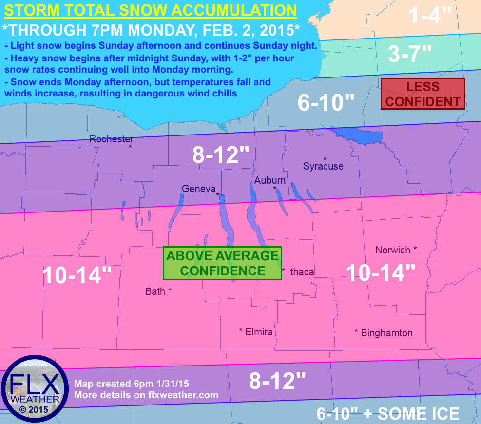 Around a foot of snow is likely for a large part of the Finger Lakes, with the heaviest snow falling after midnight Sunday night and into Monday morning. Bitter cold and gusty winds will develop after the snow ends Monday afternoon.