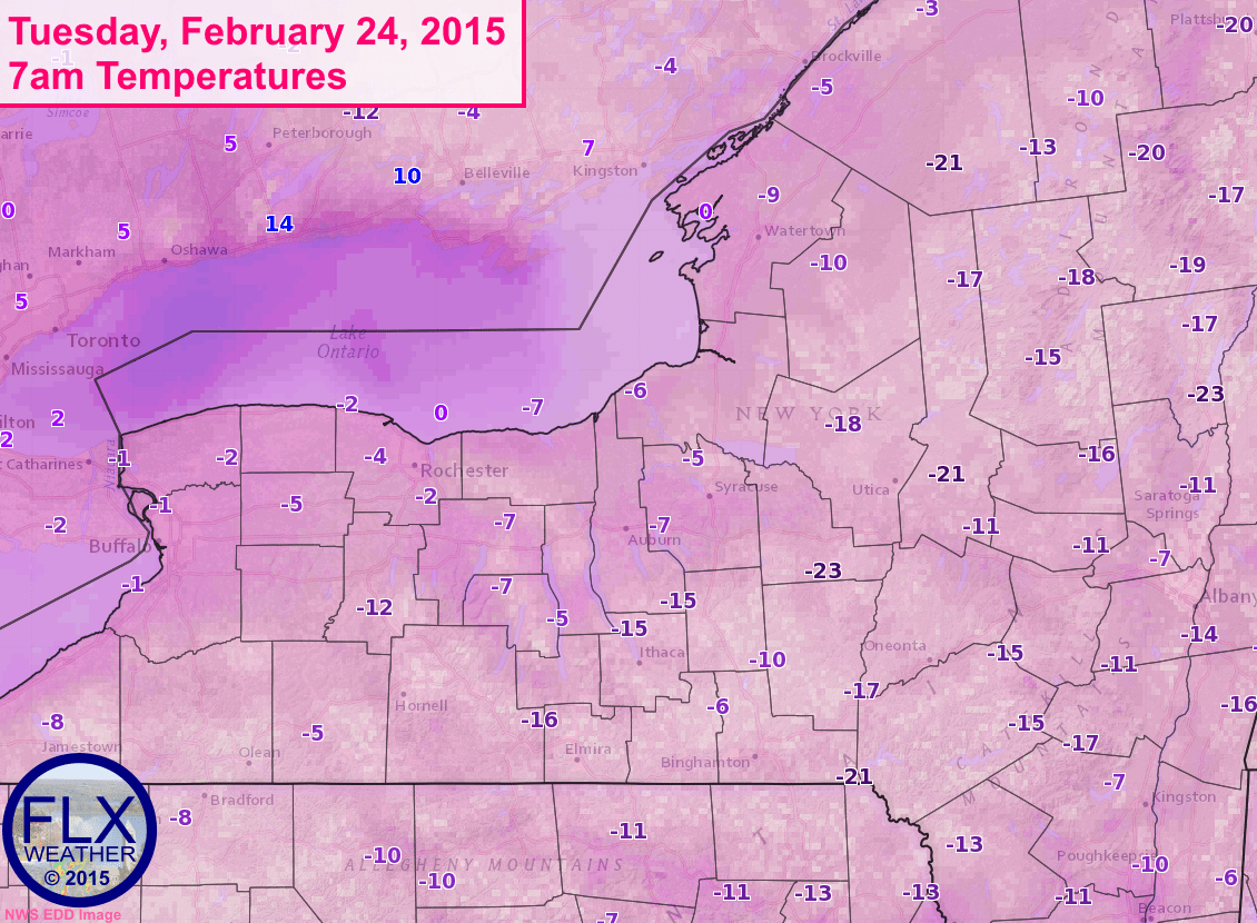 7am Temperatures around the Finger Lakes are extremely low. Localized areas are most likely even colder than what is shown on the map.