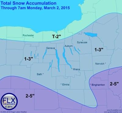 Snowfall amounts will generally be light through Monday morning.