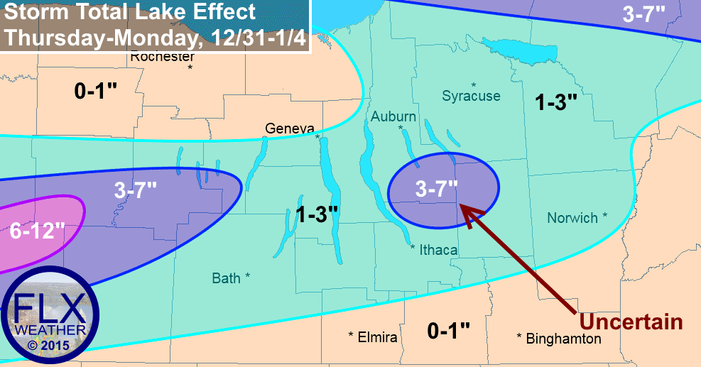 Lake effect snow will develop on Thursday and persist through the weekend. Only minor accumulations are expected for most of the Finger Lakes.