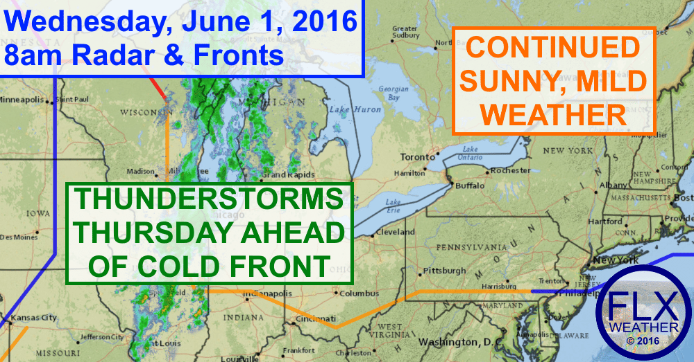 Temperatures will return to the 80s for most of the Finger Lakes Wednesday & Thursday ahead of a cold front.