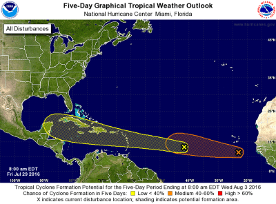 National Hurricane Center 5-day tropical outlook july 29 2016