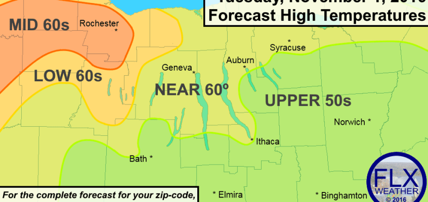 finger lakes temperature forecast tuesday november 1 2016