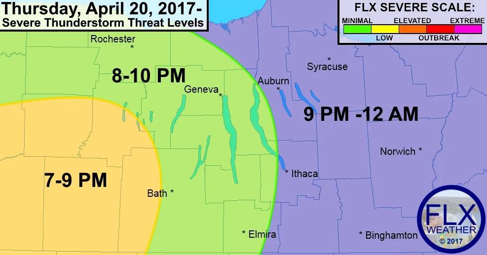 finger lakes weather forecast april 20 2017 severe thunderstorm risk hail wind tornado