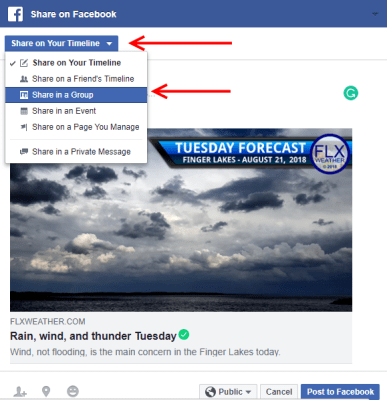 facebook group share finger lakes weather