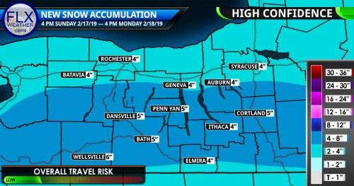 finger lakes weather forecast snow accumulation map sunday february 17 2019 monday february 18 2019