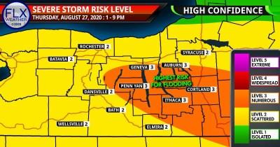 finger lakes weather forecast thursday august 27 2020 severe thunderstorm risk map