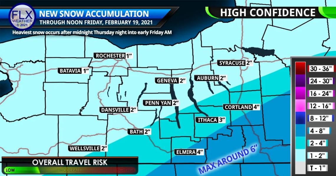 finger lakes weather forecast snow map thursday february 18 2021 friday february 19 2021