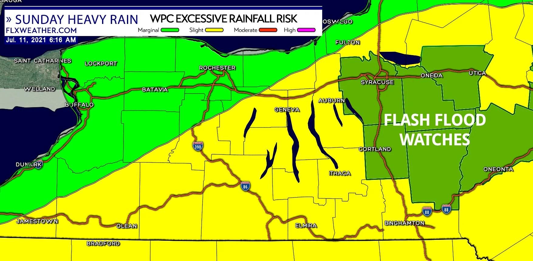 finger lakes weather forecast sunday july 11 2021 heavy rain flash flood watch