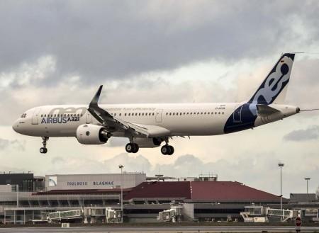 Aterrizaje en Toulouse tras seis horas en el aire, del primer Airbus A321neo con motores Pratt & Whitney.
