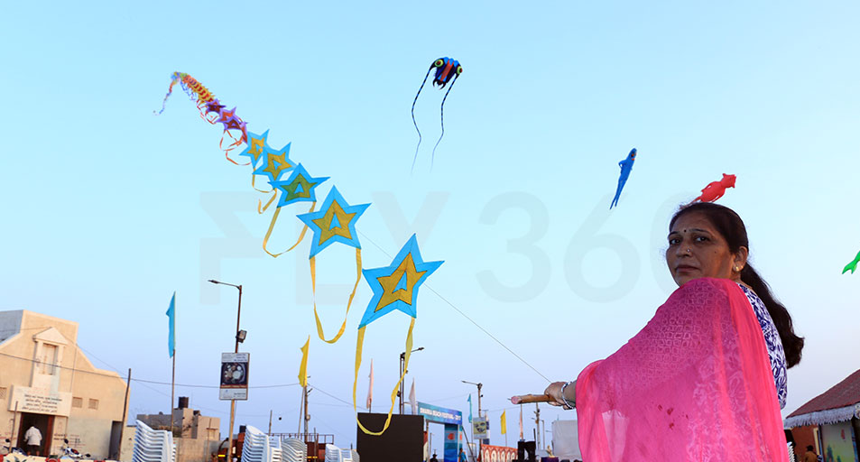 Kites in the air - Beach Kite Festival at Dwarka 2017