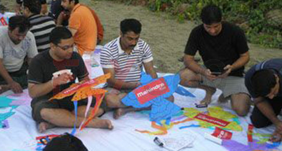 Mahindra distributor Making Kites - Modern kite making workshop