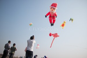 Kite flying during Christmas celebration