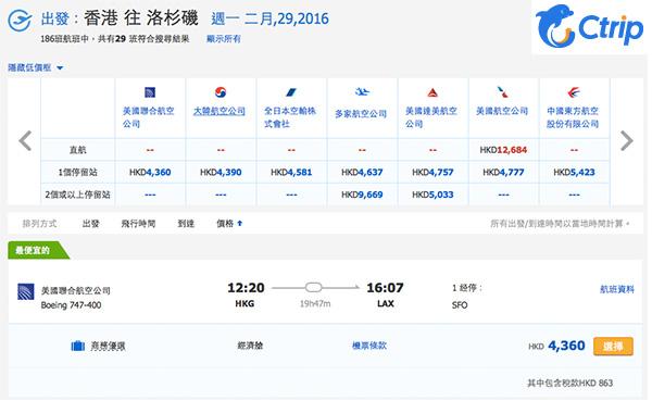 聯合航空香港直航芝加哥/三藩市/紐約$4,456,轉飛其他城市$3,497起,6月30日前出發