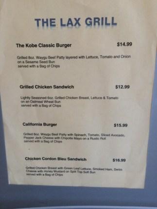 The LAX Grill menu at the Admirals Club at LAX