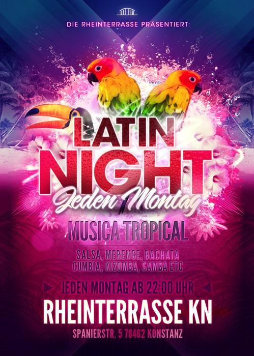 Jeden Montag präsentiert die Rheinterrasse die Latin Night Party. Es wird Salsa, Cumbia, Merreng ...