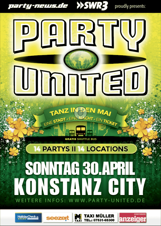 PARTY UNITED – Tanz in den Mai – 30.4.17 – Konstanz