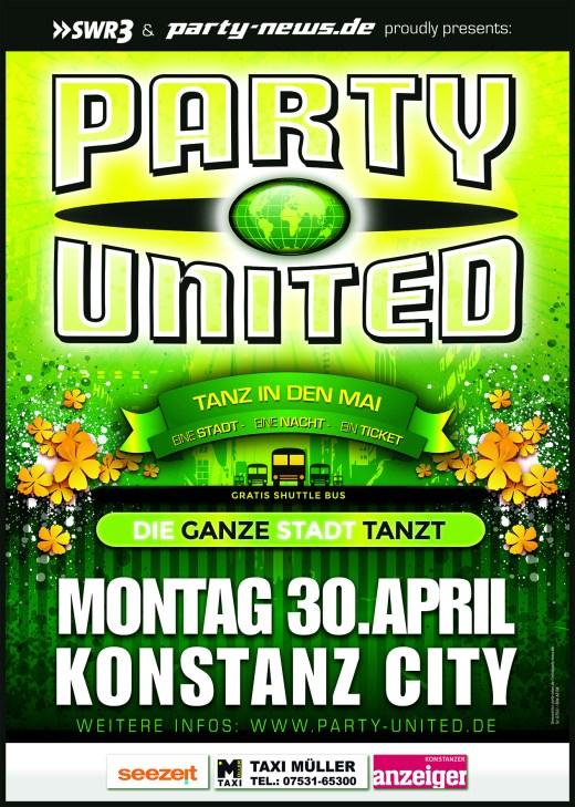 PARTY UNITED – Tanz in den Mai. Eine Nacht – Eine Stadt – Ein Ticket