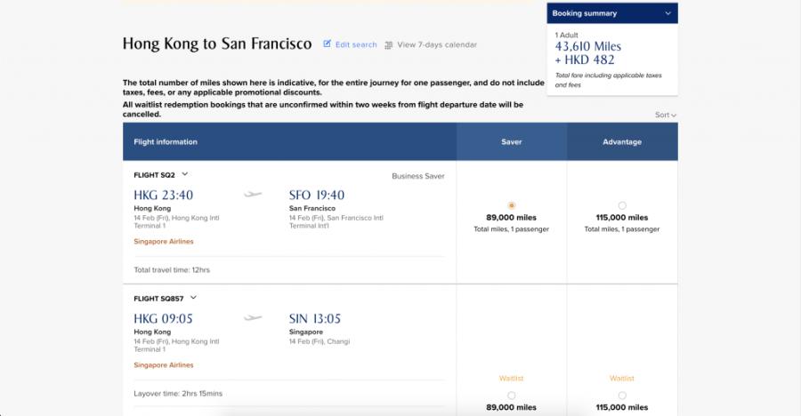 新加坡航空 KrisFlyer Spontaneous Escapes 2月獎勵機票49折兌換優惠 - 香港往三藩市