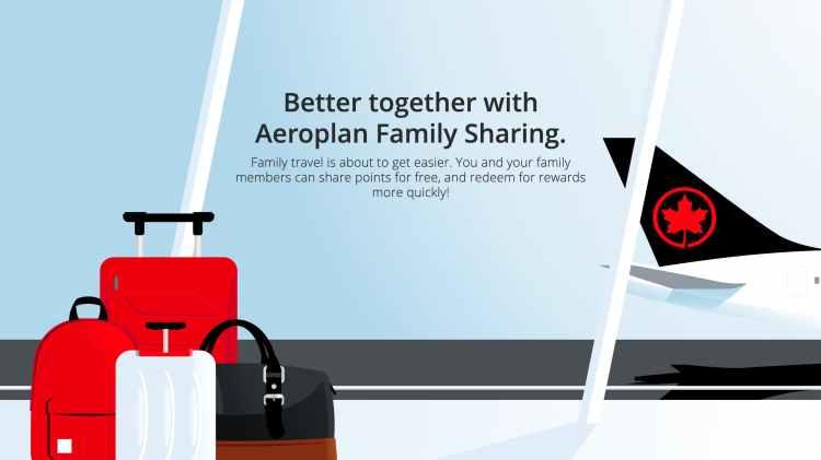 加拿大航空 Aeroplan Family Sharing 全家桶里數計劃(圖片來源:加拿大航空)