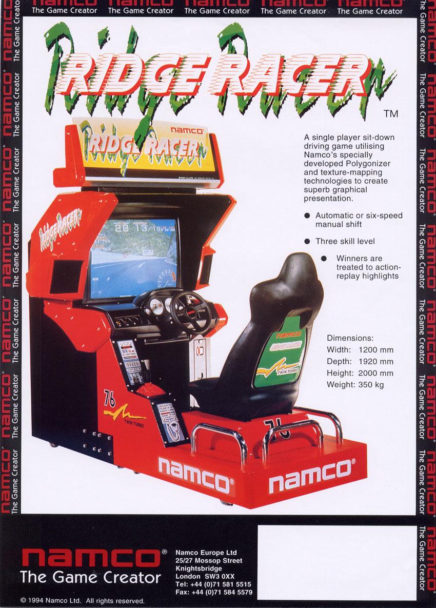 The Arcade Flyer Archive Video Game Flyers Ridge Racer Namco Namco Bandai Games