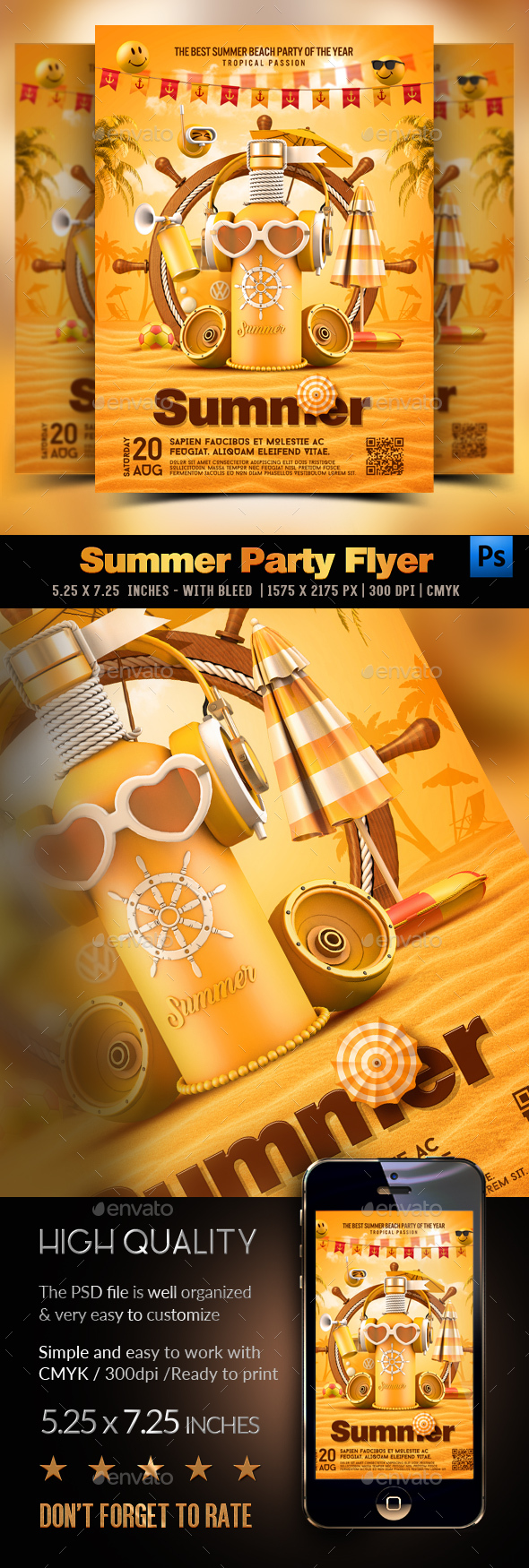 Flyers PSD – Summer season Yellow Celebration – Download