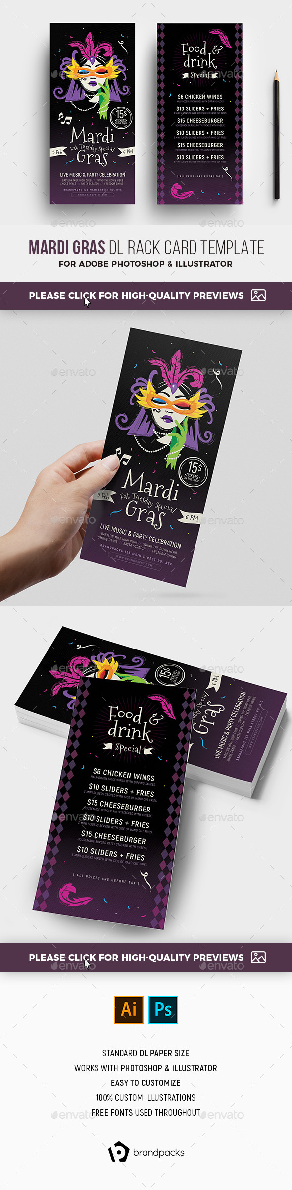 Flyers PSD – Outdated Mardi Gras DL Rack Card – Download