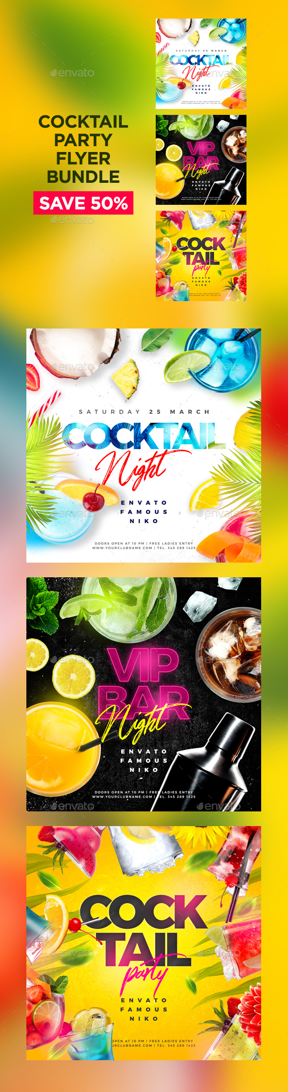 Flyers PSD – Cocktail Birthday party Flyers Bundle – Download