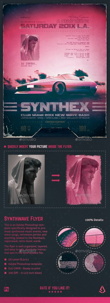 Flyers PSD – Synthwave Flyer v10 80s Retro Wave Poster Template – Download