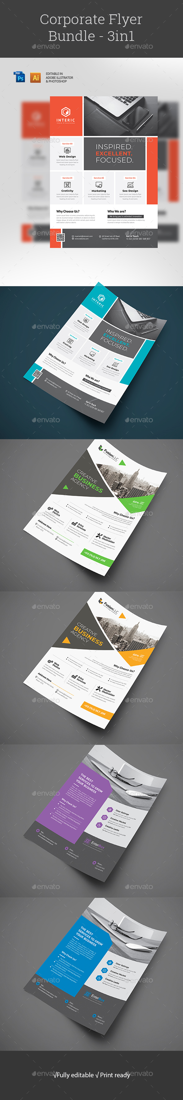 Flyers PSD – Company Flyer Bundle – Download