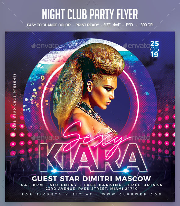 Flyers PSD – Night Membership Birthday party Flyer – Download
