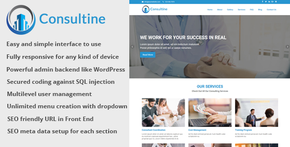 Consultine – Consulting, Trade and Finance Web inform CMS – PHP Script Download