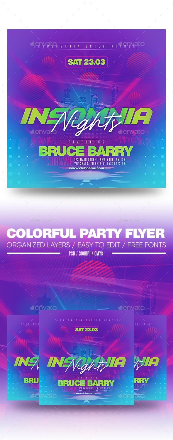 Flyers PSD – Colourful Occasion Flyer – Download