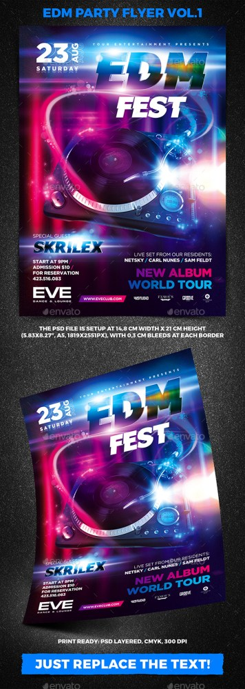 Flyers PSD – EDM Social gathering Flyer Vol.1 – Download