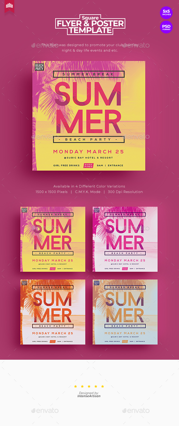 Flyers PSD – Summer Acquire collectively – Sq. Flyer V.2 – Download