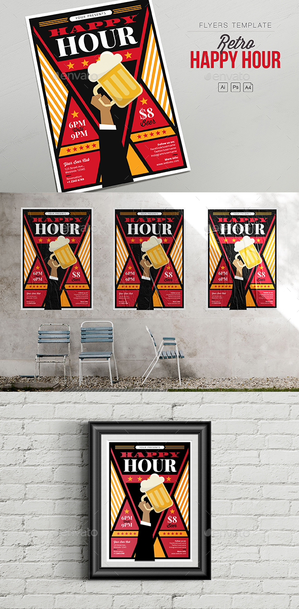 Flyers PSD – Retro Chuffed Hour – Hand Beer – Flyers – Download