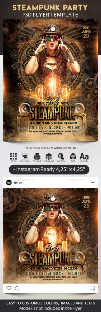 Flyers PSD – Steampunk Occasion Flyer + Instagram Put up – Download
