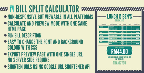 Bill Carve up Calculator – PHP Script Download
