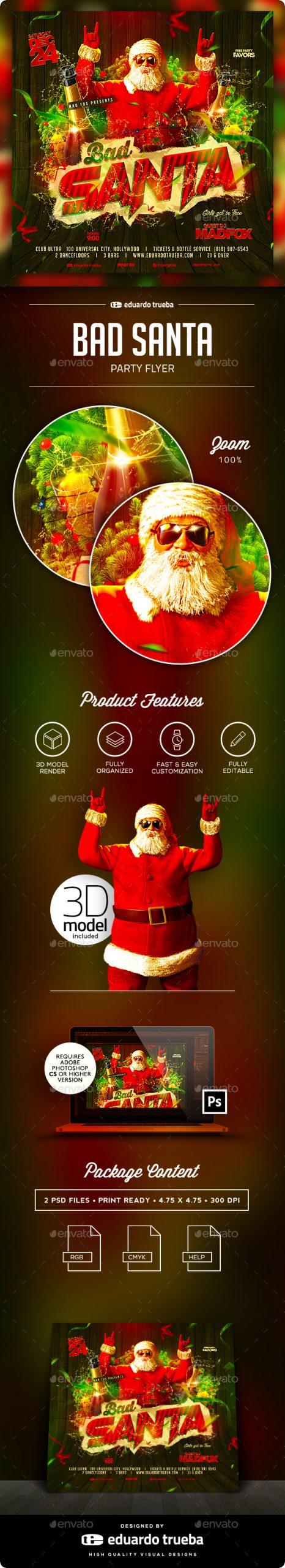 Flyers PSD – Unhealthy Santa Christmas Birthday celebration Flyer – Download