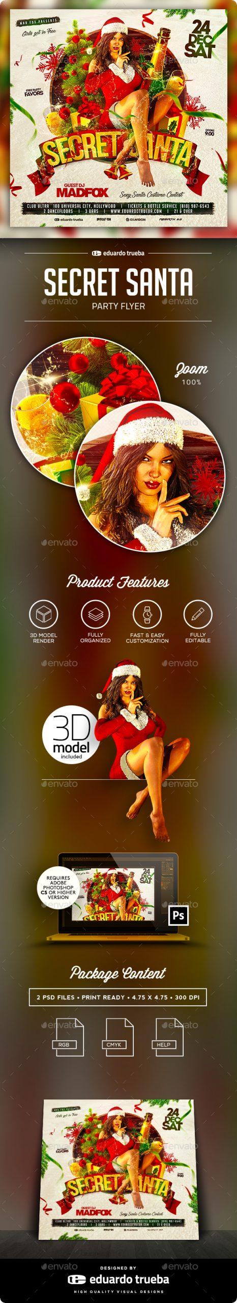 Flyers PSD – Secret Santa Christmas Birthday party Flyer – Download