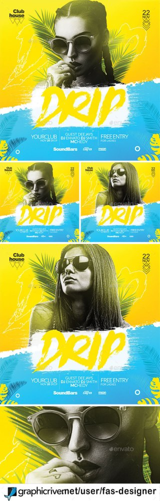 Flyers PSD – Drip Birthday party Flyer Template – Download
