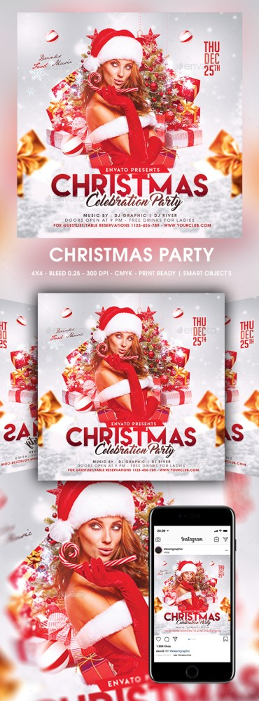 Flyers PSD – Christmas Birthday celebration – Download
